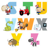 Joyful cartoon alphabet collection 3. Colorful collage of funny cartoons royalty free illustration