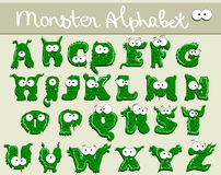 Joyful Cartoon font - from A to Z. Monster green capital letter stock illustration