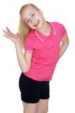 Joyful caucasian girl waving Stock Photo