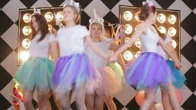 Joyful caucasian models in round dance, walk-around bride on hen party before wedding celebration. Joyful female model , celebrating hen day, laughing, having stock video