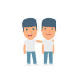 Joyful Character Activist and his best friend standing together. Poses for interaction with other characters from this series Royalty Free Stock Photos