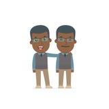 Joyful Character African American Teacher and his best friend st Stock Photos