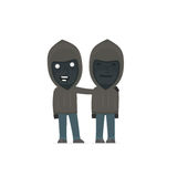 Joyful Character Anonymous Hackers and his best friend standing Stock Photo