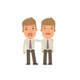 Joyful Character Broker and his best friend standing together Royalty Free Stock Photography