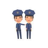 Joyful Character Constabulary and his best friend standing toget Stock Image