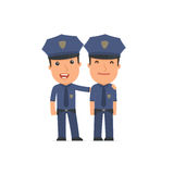 Joyful Character Officer and his best friend standing together Stock Photos