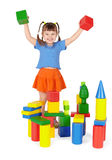 Joyful child - builder on white background Royalty Free Stock Photo