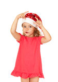 Joyful child in the New Year's cap. Stock Photos