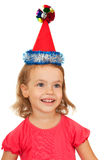 Joyful child in the New Year's cap. Stock Photo