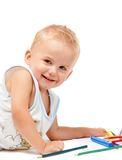 Joyful child paint Stock Images