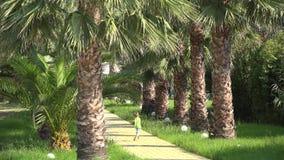 Joyful child running happy on palm tree alley. UHD 4K stock video footage