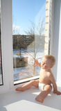 The joyful child on a window sill Stock Images