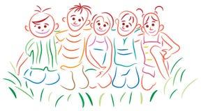 Joyful children. On green grass Royalty Free Stock Photography