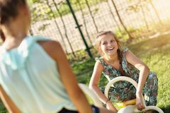Joyful children having fun on playground Royalty Free Stock Photo