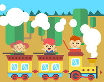Joyful children ride on the train stock illustration