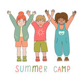 Joyful children in a summer camp logo Royalty Free Stock Photo