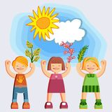 Joyful picture for decorating children`s parties. Joyful children in summer clothes. Happy girls and boys with twigs and flowers in hands on blue sky background Stock Photos
