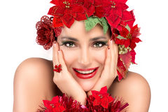 Joyful Christmas Girl with Beauty Floral Wig. Holiday Hairstyle Royalty Free Stock Photo