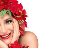 Joyful Christmas Girl with Beauty Floral Wig. Holiday Hairstyle Royalty Free Stock Photos