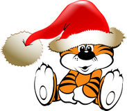 Joyful Christmas tiger stock illustration