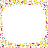 Joyful and colorful confetti and streamers background. vector illustration