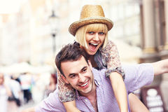Joyful couple in the city Stock Image