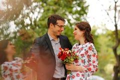 Joyful couple embracing outdoor Royalty Free Stock Image