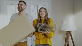 Happy couple happy to enter their new home at first time Stock Photos