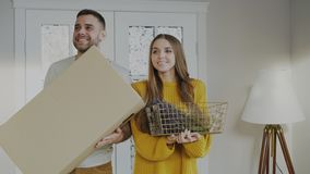 Happy couple happy to enter their new home at first time Royalty Free Stock Photos