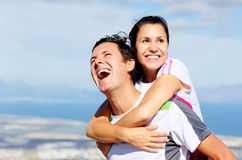 Joyful couple laughing Stock Photos