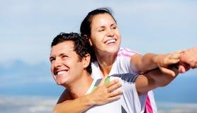 Joyful couple laughing Stock Photo