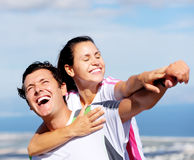 Joyful couple laughing Stock Image