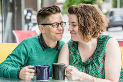 Joyful couple looking at each other Royalty Free Stock Photos