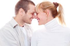 Joyful couple in love. Portrait of joyful couple in love Royalty Free Stock Photos