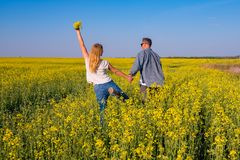 Joyful couple with open arms is walking through the field. Of yellow flowers under the blue sky - a happiness and freedom in nature. Back view, wide angle Royalty Free Stock Photos