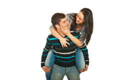 Joyful couple in piggy back Stock Photography