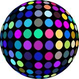 Joyful disco ball 3d icon isolated. Pink blue green yellow dots mosaic pattern. Modern close up graphic abstraction. vector illustration