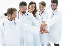 Joyful doctors are proud of their teamwork. Concept of teamwork royalty free stock photo