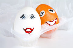 Joyful eggs Stock Images
