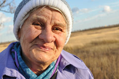 Joyful, an elderly woman Royalty Free Stock Images