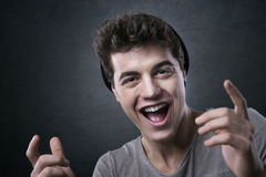 Joyful excited you man Royalty Free Stock Photography