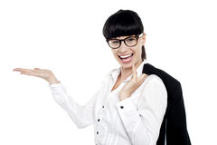 Joyful executive presenting copy space area Stock Image