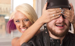 Joyful Expression Couple Ready for Motorcycle Ride stock photography