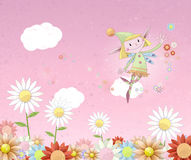 Joyful Fairy Fluttering Over A Flowery Meadow Stock Photography