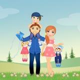 joyful familj royaltyfri illustrationer