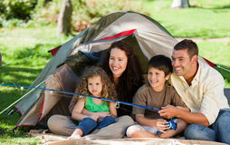 Joyful family fishing Royalty Free Stock Photos
