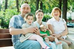 Joyful family of five  in summer Stock Image