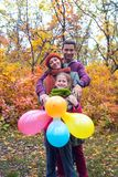 Joyful family in nature Stock Photography