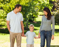 Joyful family in the park Stock Photography