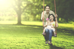 Joyful family playing on swing. Portrait of a joyful family laughing together while playing on a swing at the park Stock Photo